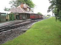 The beautifully restored Woody Bay station on the Lynton & Barnstaple Railway seen from the grassy (not currently in service) Lynton bound platform on 5 July 2008.<br> <br><br>[John McIntyre&nbsp;05/07/2008]