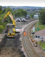 View west towards Bathgate station on 12 July past the remains of Rennies Bridge. The passenger line has been renewed, with the freight line and route into the car compound taken out to allow renewal of the solum pending relaying.<br><br>[Bill Roberton&nbsp;12/07/2008]