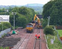 Sunday evening engineering activity east of Bathgate station on 13 July 2008. On the left is the aborted STVA siding.<br><br>[James Young&nbsp;13/07/2008]