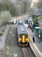Passengers disembark from the 1416 Middlesbrough - Whitby service at Sleights on 3 April 2008. The remains of Sleights signal box can still be seen beyond the platform on the left.<br><br>[John Furnevel&nbsp;03/04/2008]