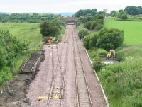 View towards Bathgate on 14 July 2008 showing the newly installed connection to the car compound of STVA Automotive Logistics Ltd. <br><br>[James Young&nbsp;14/07/2008]