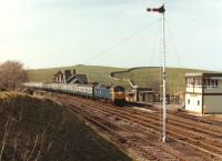 Class 47 47104 returning south with an excursion to Templecombe passing through Kirkby Stephen station on 21 April 1984.<br><br>[Colin Alexander&nbsp;21/04/1984]