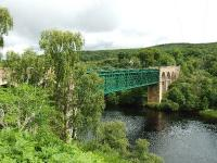 A view of the Oykel/Shin Viaduct looking north. Built in 1867 for the Sutherland Railway it has recently had a walkway added to the west side. <br><br>[John Gray&nbsp;17/07/2008]