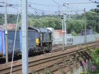 66415 at the Elderslie Loop having just been given signals to join the main line after loading up with containers at WH Malcolm on a container service to Newbiggin, Cumbria, on 16th July.<br><br>[Graham Morgan&nbsp;16/07/2008]