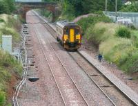 A Carlisle - Glasgow Central service passing Eastriggs on the single line Gretna - Annan section on 17 July 2008. Work on finalising and commissioning the new up line is due to be completed within the next few weeks.<br><br>[John Furnevel&nbsp;17/07/2008]
