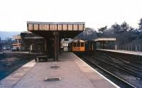 View towards the buffer stops at Buxton in 1978 with a DMU ready to leave for Manchester.<br><br>[Ian Dinmore&nbsp;//1978]