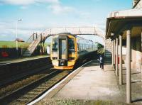 Southbound 158 741 pulls into Springfield station in July 1998 on its way to Edinburgh.<br><br>[David Panton&nbsp;/07/1998]
