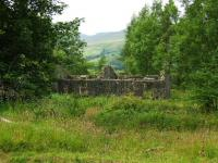 The derelict cottages that once housed the railway staff at Killin Junction.<br><br>[John Gray&nbsp;23/07/2008]
