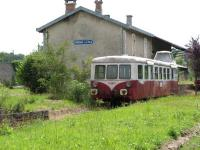 A railcar sits at the old station at Corgnac-sur-Isle on 10 July 2008. The line is currently used for Velorail operations only between Corgnac and Thiviers and, in August only, various sections of track eastwards from Corgnac to Excidieuil.  <br> <br><br>[Mark Poustie&nbsp;10/07/2008]