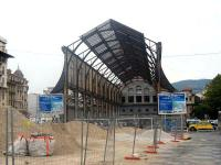 View of the train shed of the abandoned Gare du Sud in Nice in April 2007.  The station served the Chemin de fer de la Provence (CFP) until 1991.  After the failure of one redevelopment project it is currently planned to turn the remains of the station into a media library and sports complex, using the overall roof to mount some 2000 solar panels.  The CFP currently occupies an uninspiring much smaller modern station (Nice CP) behind the photographer but still operates the route to Digne.<br> <br><br>[Mark Poustie&nbsp;13/04/2007]