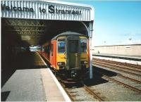 A 4-coach 156 combination waits to leave Stranraer for Glasgow Central in July 1998. The letter <I>S</I> appears to be from the next size up!  <br><br>[David Panton&nbsp;/07/1998]
