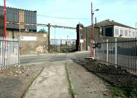 Entrance to Leith Docks across Albert Road from Leith South yard, April 2004.<br><br>[John Furnevel&nbsp;25/04/2004]