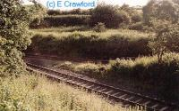 New line laid in at Stirling Road for Watsonhead. Line to Costain in background. The new line occupies the former route east to Morningside.<br><br>[Ewan Crawford&nbsp;//]
