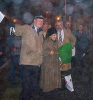 John Swinney MSP flags off of the 0712 service to Edinburgh in front of an assembled crowd at Blair Atholl on 15 December. [This is the first train booked to start at Blair Atholl since withdrawal of the local service in May 1965.]<br> <br><br>[Councillor Kate Howie&nbsp;15/12/2008]