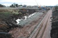 The future site of Chatelherault station looking north. The platform is in preparation and cutting has been cut back.<br><br>[Ewan Crawford&nbsp;27/3/2005]