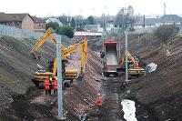 Looking north towards Merryton station. Embankment preparation continues.<br><br>[Ewan Crawford&nbsp;27/03/2005]