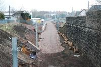 Looking north from Larkhall towards Merryton. The trackbed is ready for tracklaying.<br><br>[Ewan Crawford&nbsp;27/03/2005]