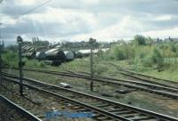 Earnock Sidings looking south from a passing train. A workshop exists here for wagon maintenance.<br><br>[Ewan Crawford&nbsp;//]