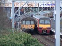 Last Blue Train about to leave Helensburgh Central to run empty to Yoker.<br><br>[Ewan Crawford&nbsp;30/12/2002]
