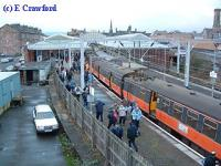 Last Blue train on arrival at Helensburgh Central. View looks west.<br><br>[Ewan Crawford&nbsp;30/12/2002]