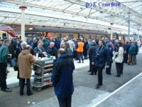 Send off for the last Blue Train at Helensburgh Central.<br><br>[Ewan Crawford&nbsp;30/12/2002]