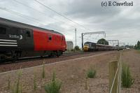 On the new alignment at Prestonpans a locomotive hauled North Berwick service (left) heads for Edinburgh and HST heads east (right).<br><br>[Ewan Crawford&nbsp;//]