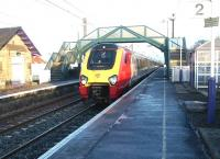 A Virgin Voyager Cross Country service runs west through Prestonpans in January 2003 heading for Waverley.<br><br>[John Furnevel&nbsp;29/01/2003]