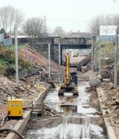 Track has reached the north end of Larkhall station.<br><br>[Ewan Crawford&nbsp;03/04/2005]