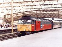 47741 <i>Resilient</I> in Rail Express Systems livery arriving at Carlisle in August 1997 with an excursion from the south. <br><br>[John Furnevel&nbsp;11/08/1997]