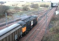 A <I>Loadhaul</I> liveried class 56 about to leave the north end of Millerhill yard with a freight on a cold and frosty December morning in 2002.<br><br>[John Furnevel&nbsp;31/12/2002]