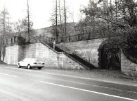 The impressive stone frontage of Balquhidder station alongside the A84 in November 1999 - access to other platforms was via the underpass bottom right.<br><br>[John Furnevel&nbsp;01/11/1999]