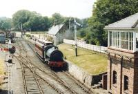 No 14 with a single coach about to run past the signal box at Beamish in the summer of 1980.<br><br>[John Furnevel&nbsp;06/06/1980]