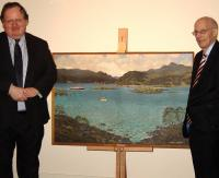 Peter Ovenstone, Chairman of the Railway Heritage Committee presents�the painting Kyles of Bute by Alasdair MacFarlane, on behalf of owner BRB (Residuary) Ltd to Sam Galbraith, chairman of trustees at the Scottish Maritime Museum, Irvine.<br><br>[Scottish Maritime Museum&nbsp;08/04/2010]
