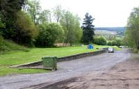 Remains at Grandtully on the Aberfeldy Branch in May 2003. Former goods yard and loading bank looking east towards Ballinluig. The area is now used as a camping and parking facility. <br><br>[John Furnevel&nbsp;21/05/2003]