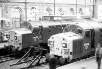 Class 37s at the buffer stops at Liverpool Street station in July 1980.<br><br>[John Furnevel&nbsp;08/07/1980]
