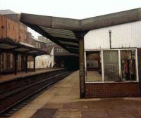 The 1890 NER station at North Shields on 6 August 1980, just 5 days before the station was closed for refurbishment and electrification in connection with the Metro project. The <I>new</I> North Shields was reopened as part of the Tyne & Wear PTE Metro system on 14 November 1982. [See image 2271]<br><br>[Colin Alexander&nbsp;06/08/1980]