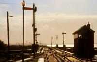 View out towards Galway Bay from the end of the platform at Galway station on a summer evening in 1991.<br><br>[Bill Roberton&nbsp;//1991]