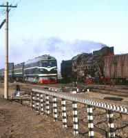 Freight and passenger services pass near Da-an Bei, Inner Mongolia, in April 2000.<br><br>[Peter Todd&nbsp;/04/2000]