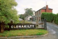 Entrance to the former Clonakilty station, County Cork, seen here in 1991, some 30 years after closure. <br><br>[Bill Roberton&nbsp;//1991]