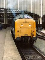 55010 <I>The Kings Own Scottish Borderer</I> at Waverley on 27 June 1981 waiting to depart with the 1E35 overnight service to Kings Cross.<br><br>[Colin Alexander&nbsp;27/06/1981]
