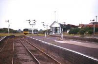 Platforms to spare... one of the large early 20th century seaside excursion stations, Skegness, Lincolnshire, seen here in 1995 with a Nottingham train passing the signal box.<br><br>[Ian Dinmore&nbsp;//1995]