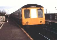 A DMU for Longbridge at Lichfield Trent Valley High Level in March 1990.<br><br>[Ian Dinmore&nbsp;11/03/1990]