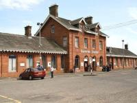 The 1859 G&SWR building on the west side of Dumfries station on 20 May 2008.<br><br>[John Furnevel&nbsp;20/05/2008]