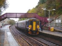 An East Kilbride service formed by 156 492 pulls up amongst the Autumn leaves at Clarkston on 13 October 2007.<br><br>[David Panton 13/10/2007]