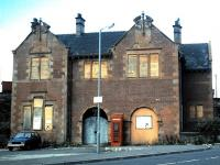 The station building at Coatbridge Central, out of use in October 1987. [See image 45340]<br><br>[David Panton&nbsp;/10/1987]