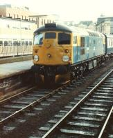 26024 in the north end bay platform at Carlisle circa 1982, about to leave with a train for Glasgow Central via Dumfries and Kilmarnock.<br><br>[Colin Alexander&nbsp;//1982]