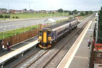 The 1107 Carlisle - Glasgow Central service leaves the newly commissioned platform 2 at Gretna Green on 11 August 2008.<br><br>[John Furnevel&nbsp;11/08/2008]