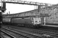 Class 50 no 405 at Carlisle platform 4 with a southbound train on 30 May 1972. <br><br>[John McIntyre&nbsp;30/05/1972]
