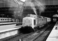 Deltic 55003 <I>Meld</I> getting into the mood at Kings Cross on 26 June 1978. <br><br>[Peter Todd&nbsp;26/06/1978]