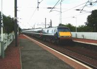 A National Express East Coast train on the Kings Cross - Glasgow Central route accelerates west through Slateford on 30 July 2008.<br><br>[David Panton&nbsp;30/07/2008]